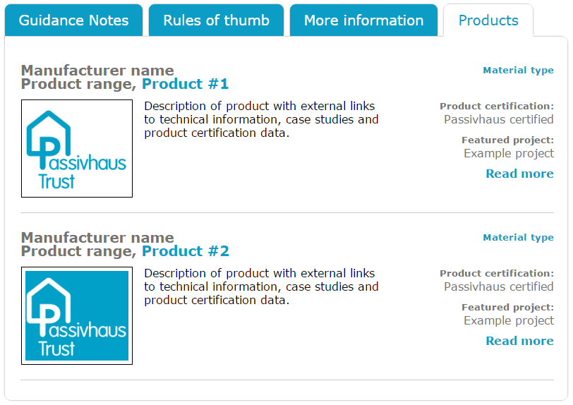 PHT Passivhaus Trust Product Database Tab