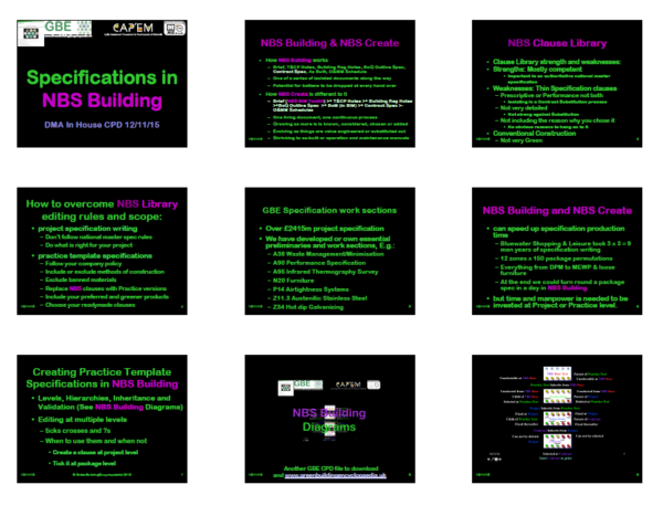 GBE CPD Cover 9 Slide/Page Handout Specification NBS World