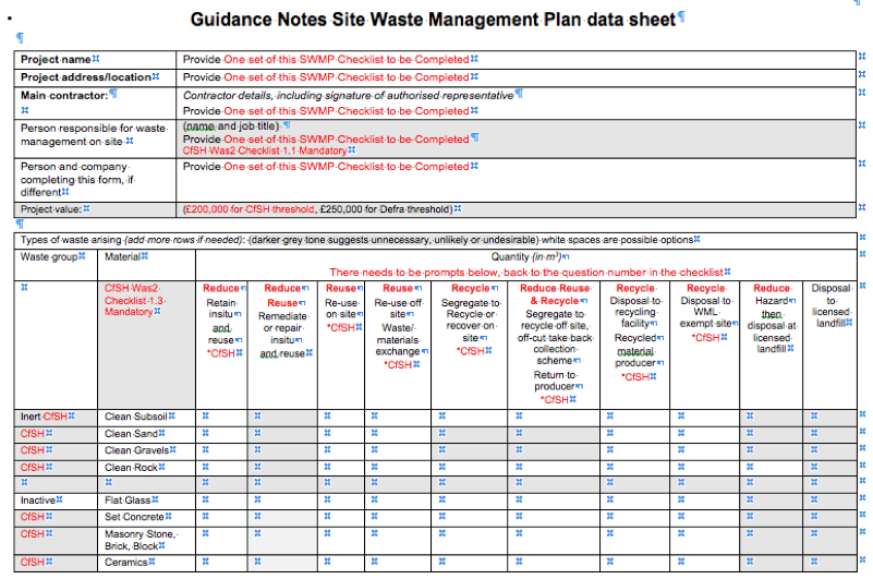 Swmp site waste management plan workshops green building for Waste management strategy template