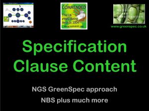 GBE Specification Clause Content CPD