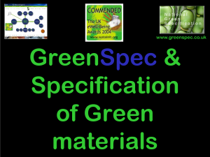 SpecificationGreenMaterials