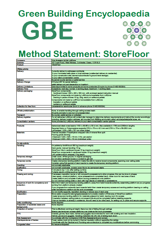 Product Data Sheet generated Method Statement LoftZone StoreFloors cover