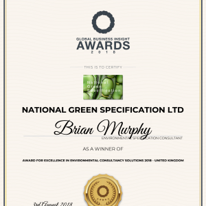 2018 Award for excellence in Environmental Consultancy Solutions 2018 - UK