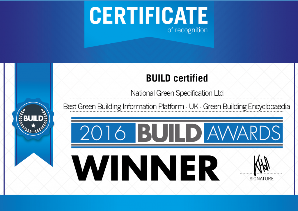 BUILD 2016 Award Best Green Building Information Platform