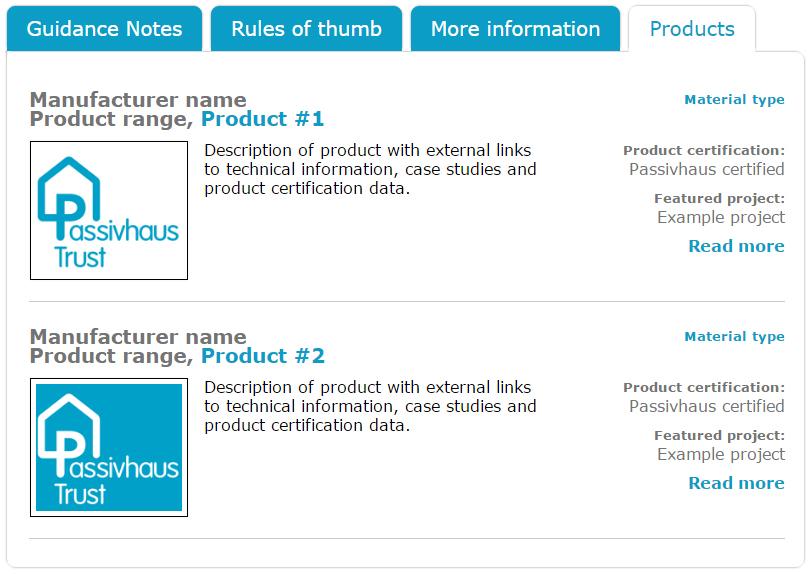 PHT Passivhaus Trust Product Database Tab