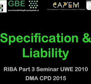 GBE CPD Specification & Liability