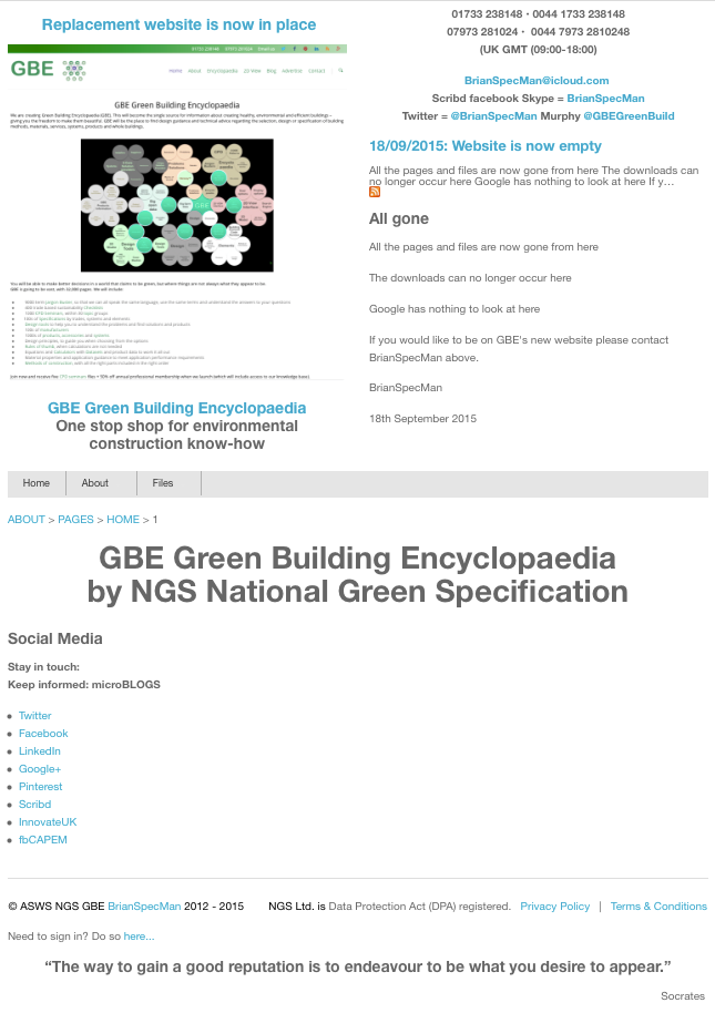 NGS Closing Down Page inking to GBE