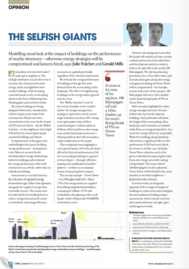 CIBSE Journal Feb 2014 P26 Selfish Giants