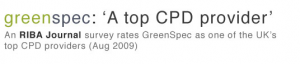 Green Spec CPD RIBA Journal Top 10 CPD Provider