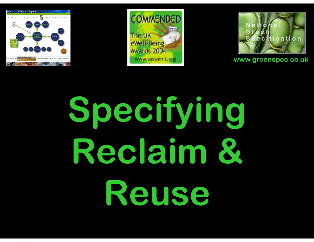 Reclaim Reuse Specification CPD Cover