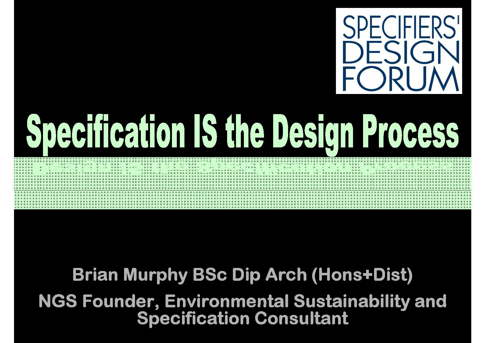 Specifiers' Design Forum SDF Spec IsDesign