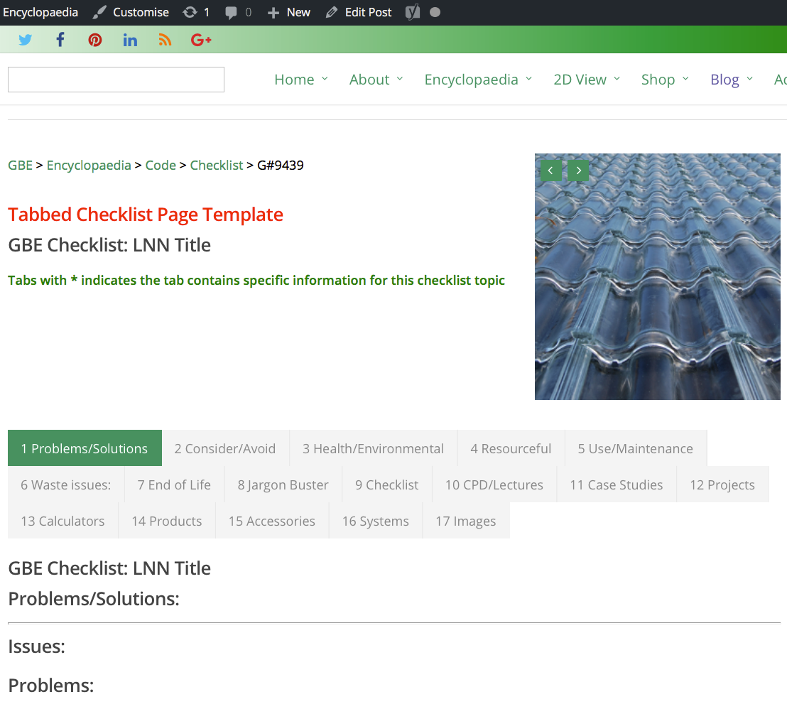 Tabbed Checklist Page Template G#9439