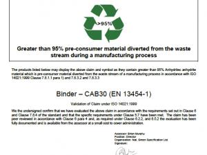 NGS Echo ISO 14021:1999 CAB 30 Binder Anhydritec SAS France
