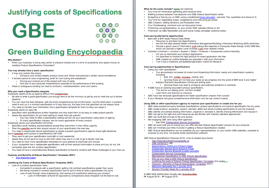 Justifying the costs of Robust Product Specification Templates G#12547
