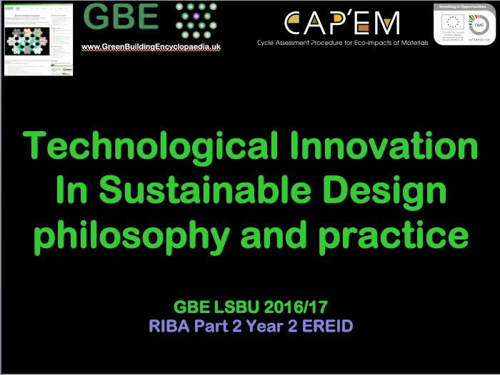 technological innovation sustainable design lecture
