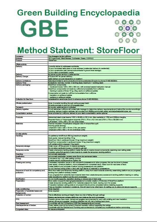 Product Data Sheet generated Method Statement LoftZone StoreFloors cover