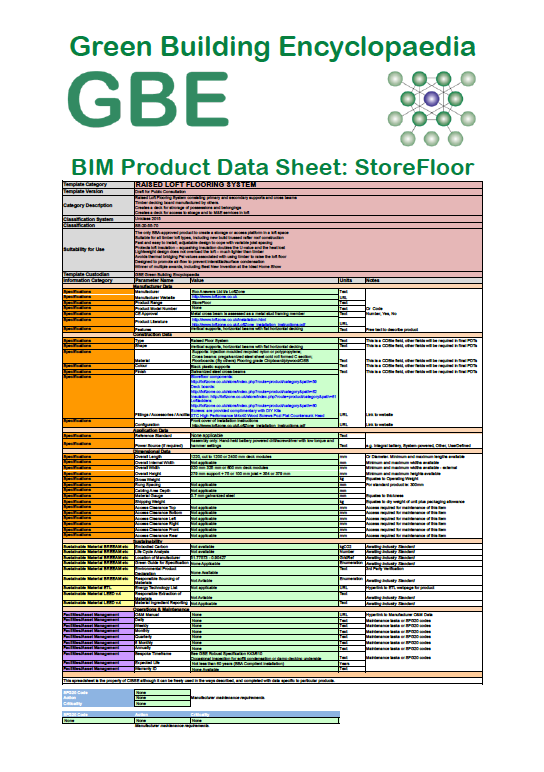 Product Data Sheet generated BIM Product Data Sheet LoftZone StoreFloors