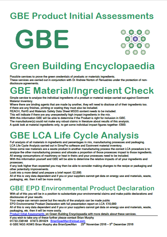 gbe product initial assessments