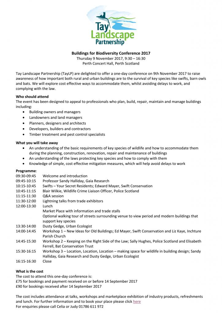 Invite Biodiversity In Building Conference 2017