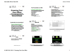 GBE CPD D32 Greening Your Own Office CPD B02 BRM 141117 9H1 Handout Cover