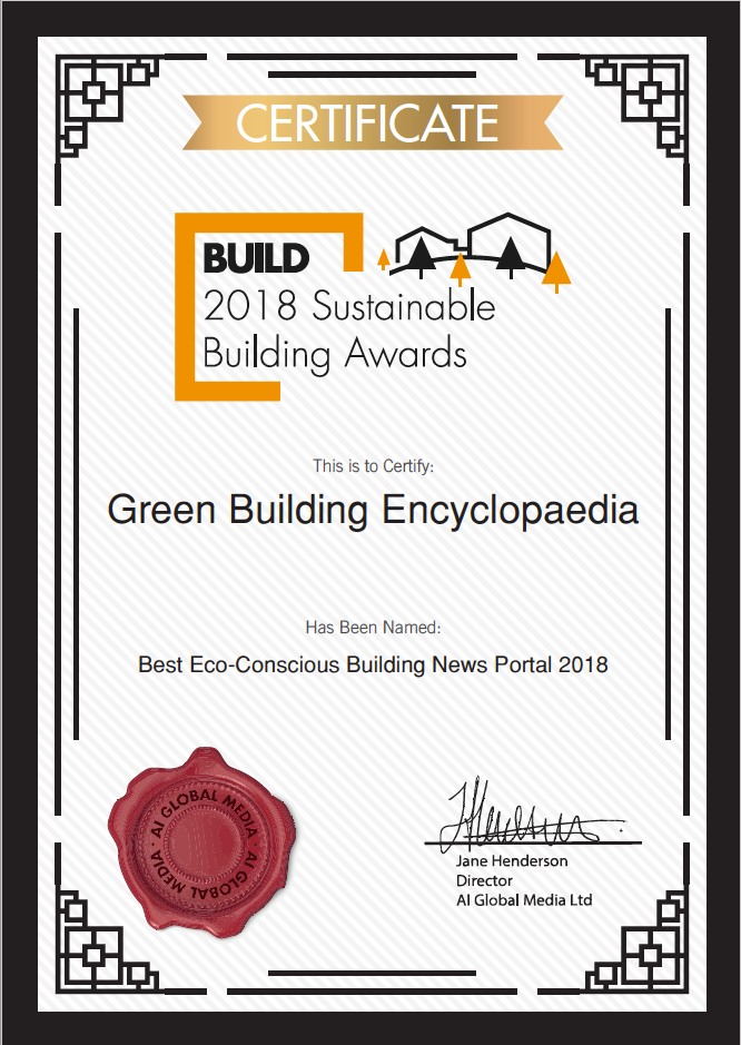 2018 Sustainable Building Awards Certificate