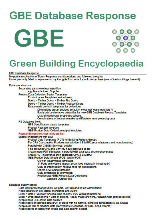 GBE Database Response Cover