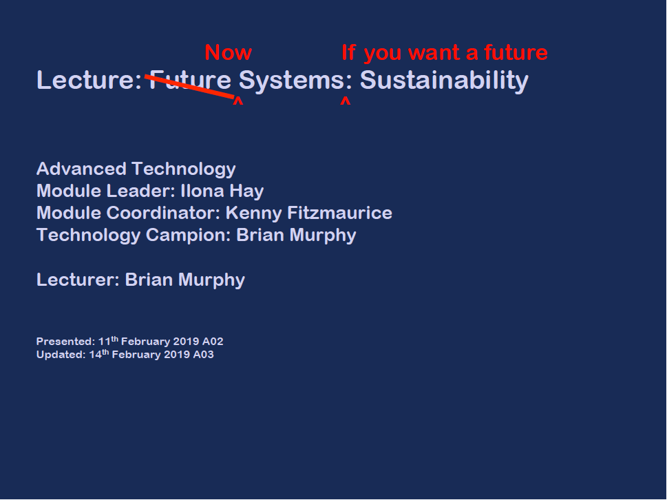 GBE Future Systems Sustainability (Lecture) G#20396