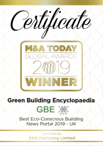 M&A Today Global Award_2019_Certificate_Green Building Encyclopaedia Certificate PNG