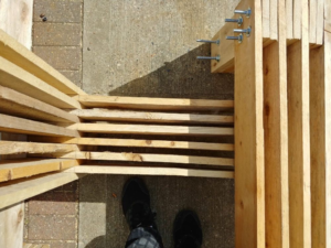 Reclaimed surplus softwood frame for Benches UH Project for Pause Installation LONDON FESTIVAL OF ARCHITECTURE