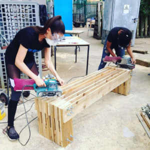 UH Bench Sanding Team Dilyana