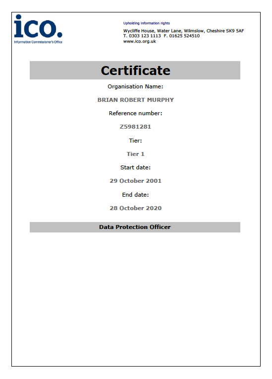 ICO Data Protection Act Registration Certificate