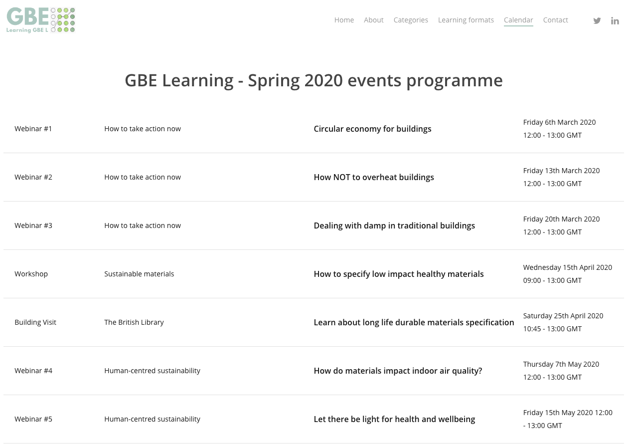 GBE Learning Calendar Spring 2020