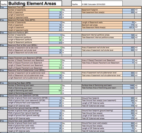 GBE Green Building Calculator Building Elements Areas A13 BRM 250520 PNG