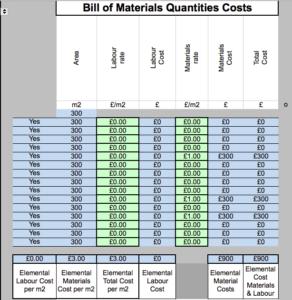GBE Green Building Calculator Bill of Materials Quants Costs Close Up A14 BRM 110620 PNG