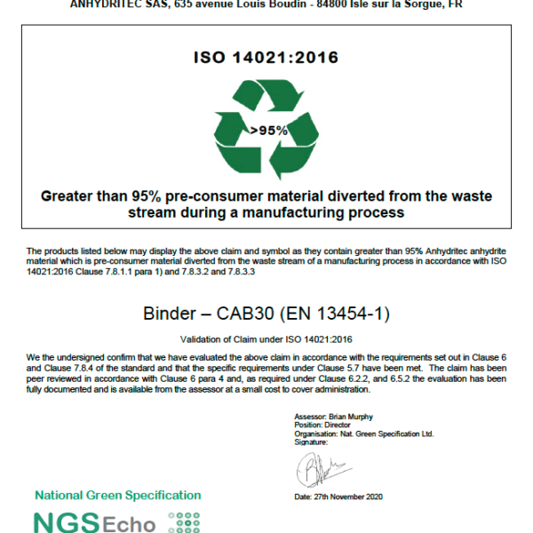 NGS Echo Certificate Binder CAB30 FR SAS 2020-11-30 Anhydritec Limited Manufacturer