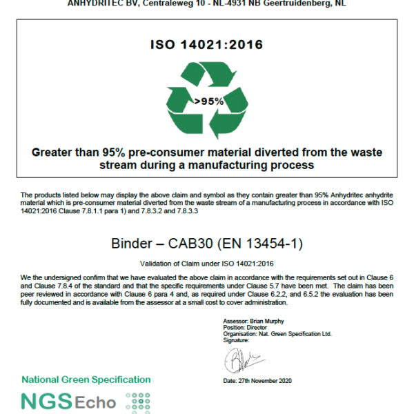 NGS Echo Certificate Binder CAB30 UK Ltd 2020-11-30 Anhydritec Limited Manufacturer