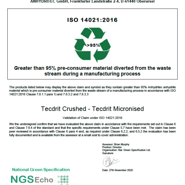 NGS Echo Certificate TECDRIT D GmBH 2020-11-30 png Anhydritec Limited Manufacturer