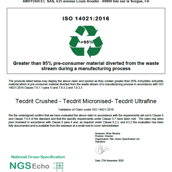 NGS Echo Certificate TECDRIT NL BV 2020-11-30 Anhydritec Limited Manufacturer