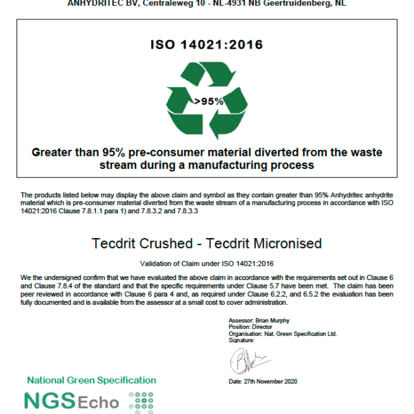 NGS Echo Certificate TECDRIT UK Ltd 2020-11-30 PNG Anhydritec Limited Manufacturer