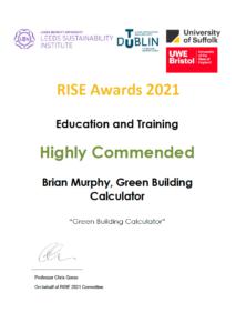 LSI RISE Award 2021 GBC Certificate PNG